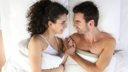 happy, intimate couple, in bed