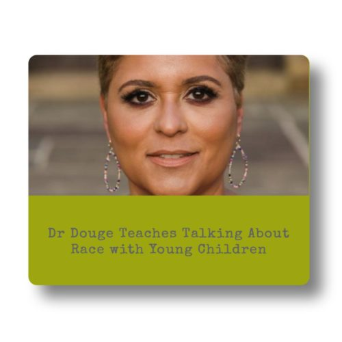 S: Jackie Douge, an instructor in our University space, teaching parents how to teach children about race